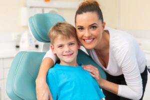 mother and son visiting pediatric dentist in san antonio